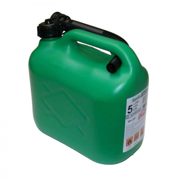 FUEL CAN GREEN 5 LITRE PLASTIC C/W SPOUT