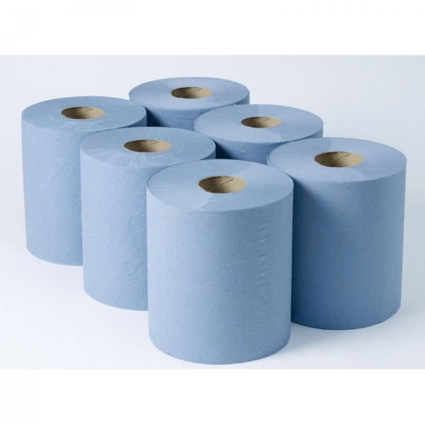 ROLL BLUE CENTREFEED EMBOSSED PACK/6