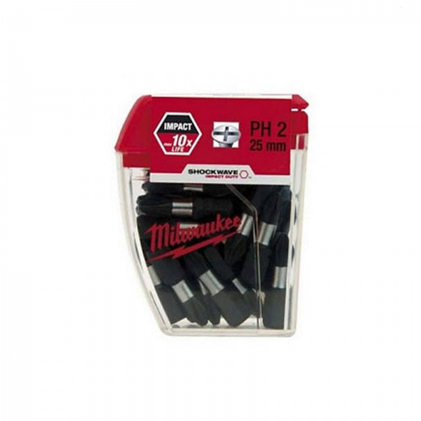 MILWAUKEE SHOCKWAVE TIC-TAC BITS 25MM PH2