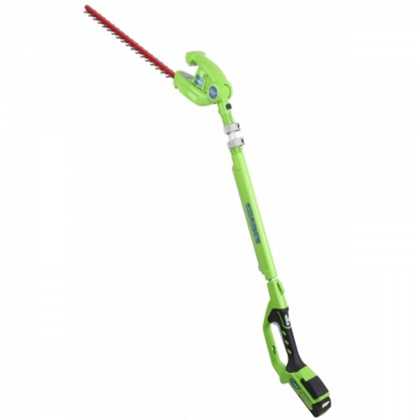GREENWORKS LONG REACH HEDGE TRIMMER C/W 24V BATTERY&CHARGER
