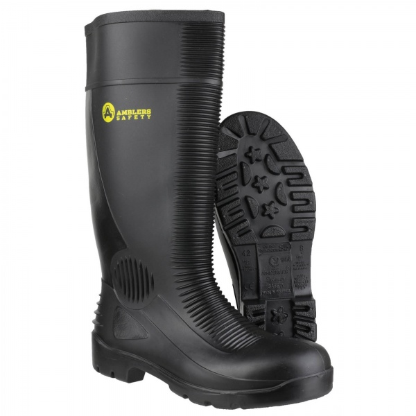 AMBLERS FS100 WATERPROOF PULL ON RIBBED SAFETY WELLINGTON