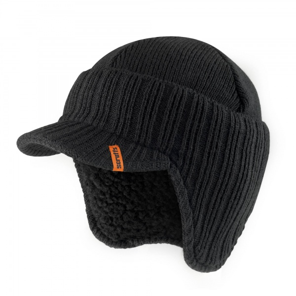 SCRUFFS T50986 PEAKED KNITTED HAT BLACK