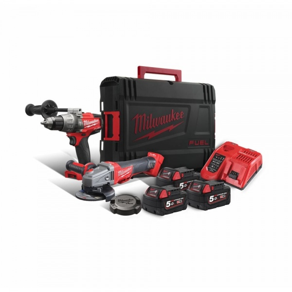 Milwaukee 18v Twin Pack M18FPD Combi + M18CAG115XPDB Grinder 2 Batteries