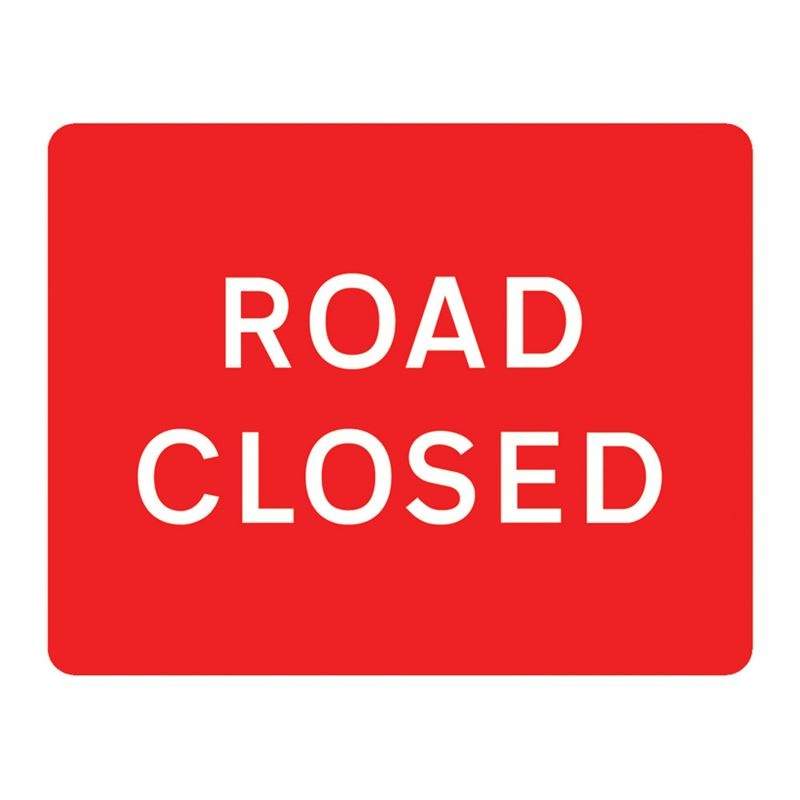 Road Closed Metal Sign Plate