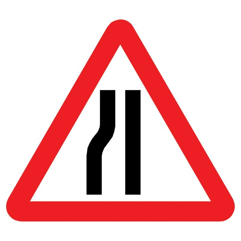 Road narrow  metal sign plate - Nearside