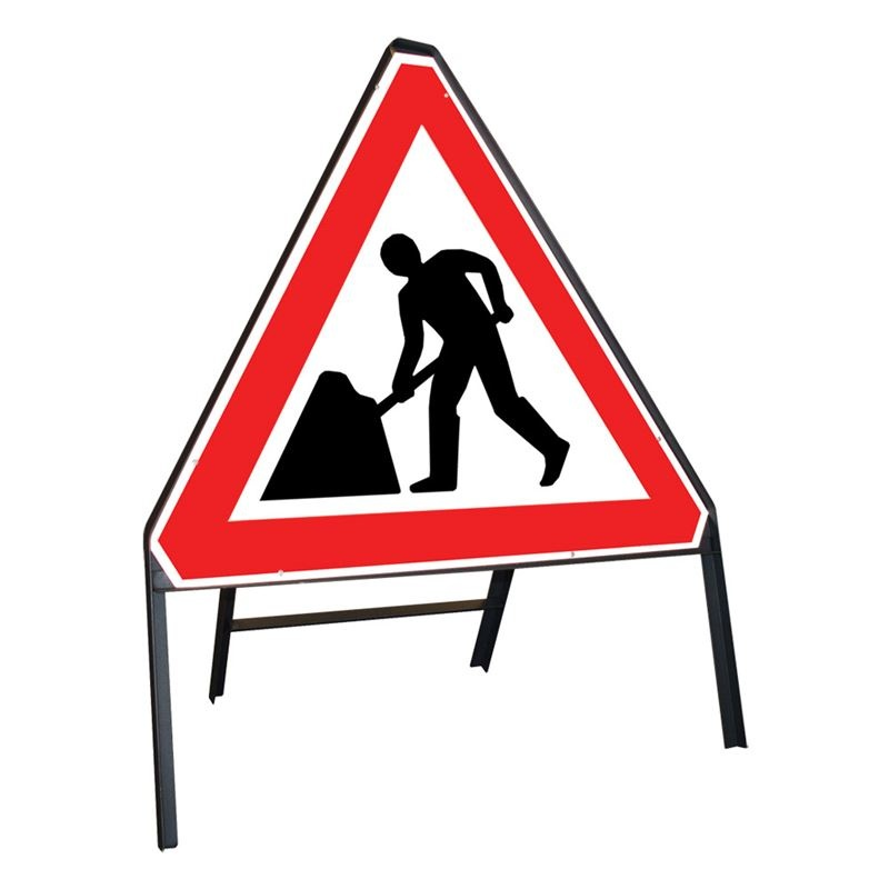 Clipped Metal Road sign - Men at Work