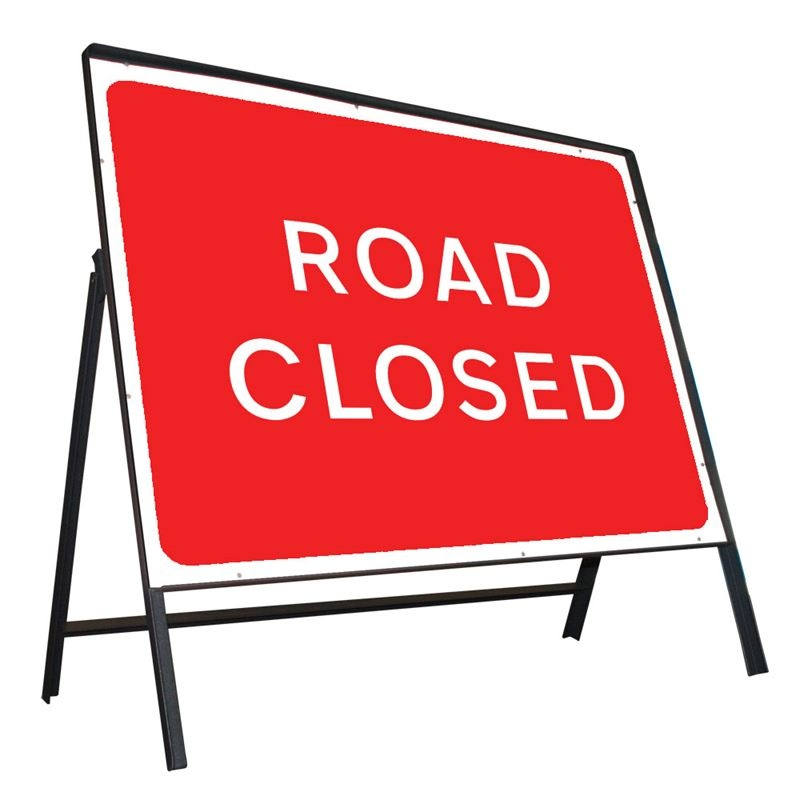 Clipped metal Road sign - Road Closed