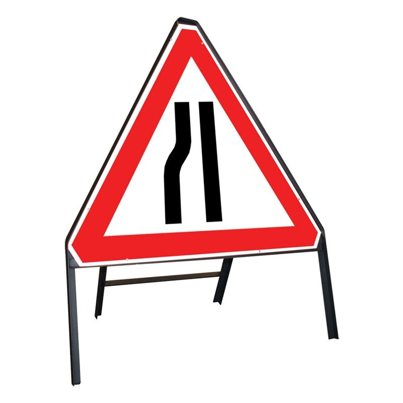 Clipped Metal Road Sign - Road Narrow Nearside
