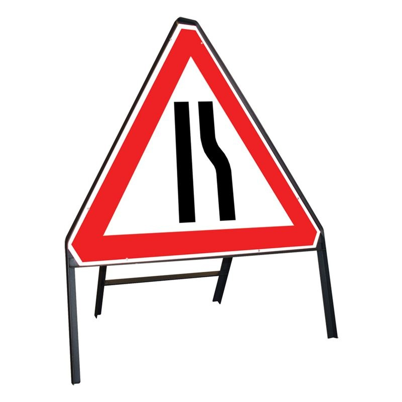Clipped Metal Road Sign - Road Narrows Offside