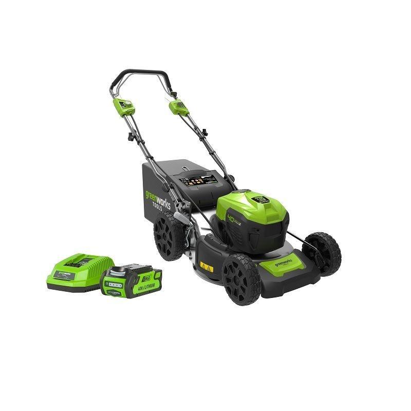 greenworks self propelled lawn mower 40v 46cm c/w 2x2ah batteries