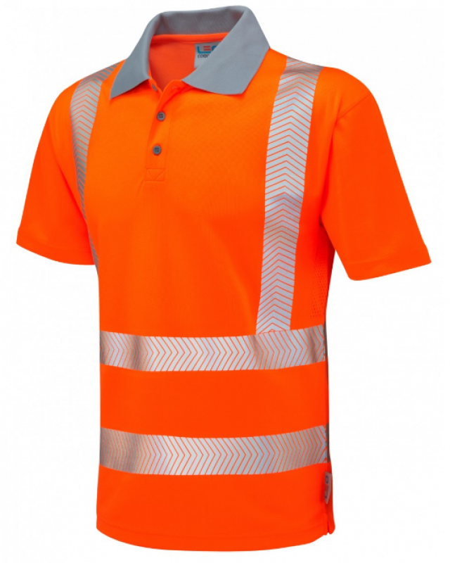 LEO WOOLACOMBE ISO 20471 Class 2 Coolviz Plus Polo Shirt Orange