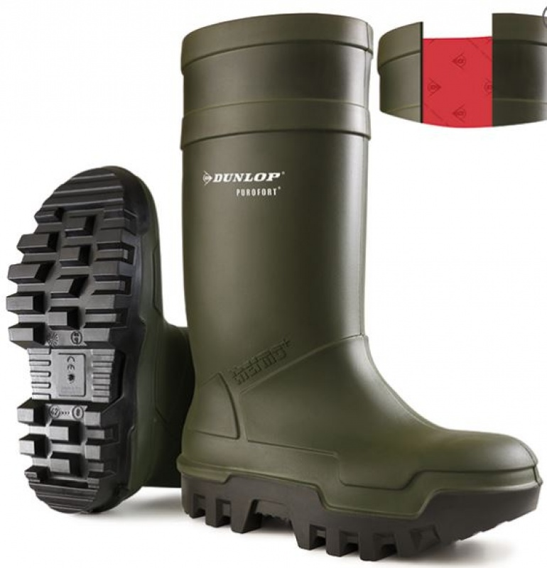 DUNLOP PUROFORT THERMO+ SAFETY GREEN WELLINGTON BOOT