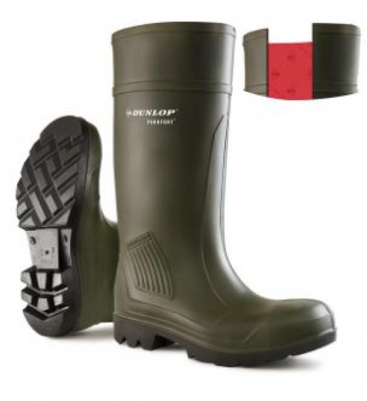 DUNLOP PUROFORT FULL SAFETY GREEN WELLINGTON BOOT C462933